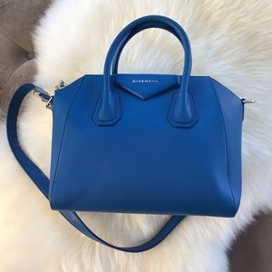 Givenchy antigona small goatskin satchel blue